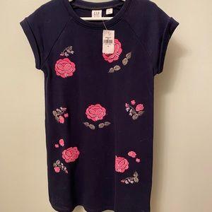 NWT gap kids blue rose dress sweatshirt s 6-7